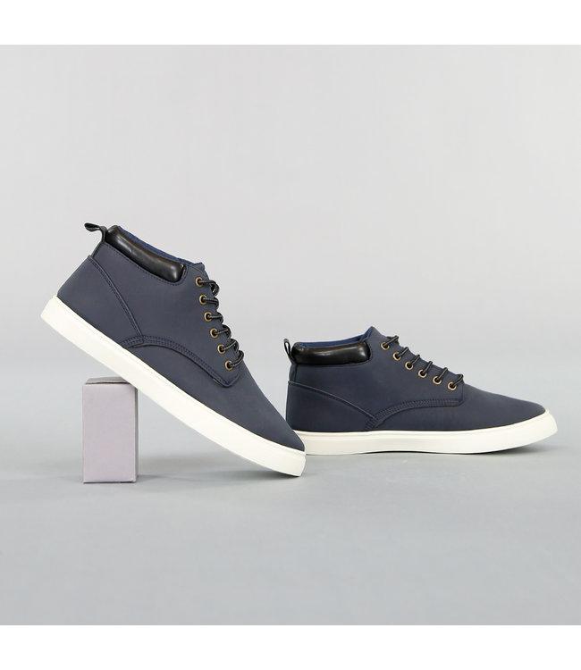 Donkerblauwe Hoge Lederlook Heren Schoenen