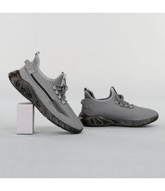 !OP=OP Grijze Primeknit Heren Sneakers met Bont