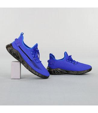 Blauwe Primeknit Heren Sneakers met Bont