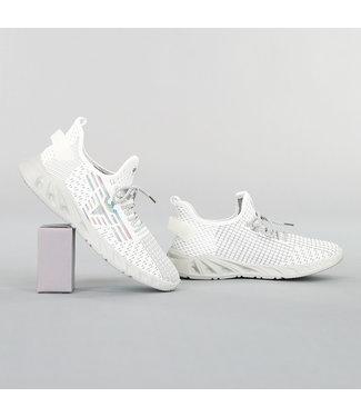 Elastische Wit/Grijze Primeknit Heren Sneakers