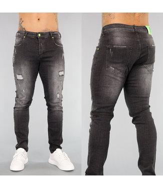 Grijze Heren Jeans met Scheuren en Verfspatten