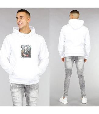 Witte Heren Hoodie met Afbeelding