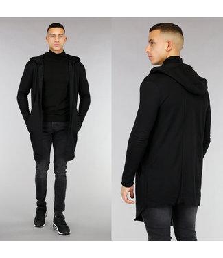 Zwart Katoenen Heren Vest met Capuchon
