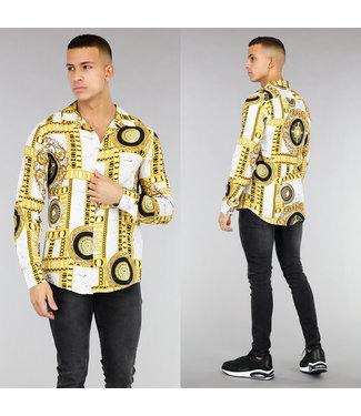 NEW! Wit Heren Overhemd met Gouden Opdruk