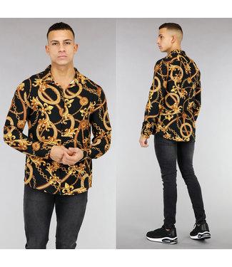 NEW! Zwart Heren Overhemd met Gouden Opdruk