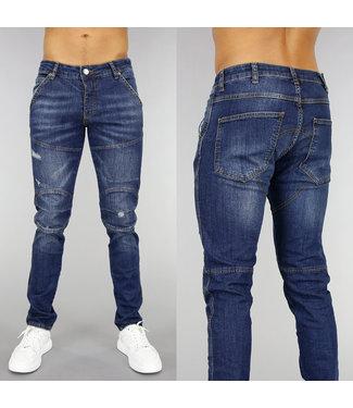 Donkerblauwe Slim Fit Heren Jeans met Krassen