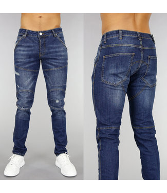 NEW! Donkerblauwe Slim Fit Heren Jeans met Krassen