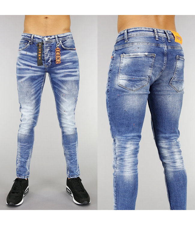 Blauwe Heren Jeans met Oranje Verfspatten
