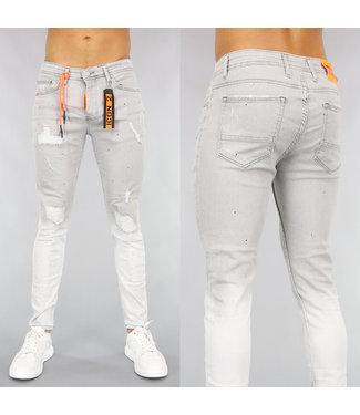 Grijze Damaged Heren Jeans met Oranje Details