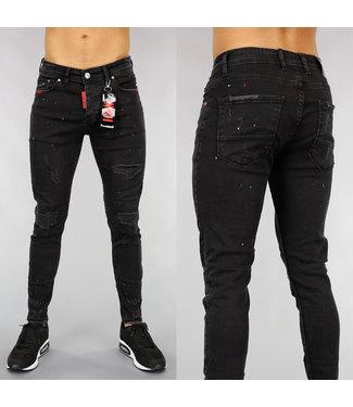 NEW! Zwarte Damaged Heren Jeans met Rode Verfspatten