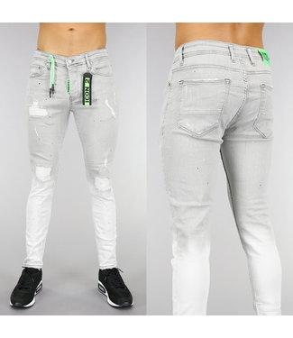 Grijze Damaged Heren Jeans met Groene Details
