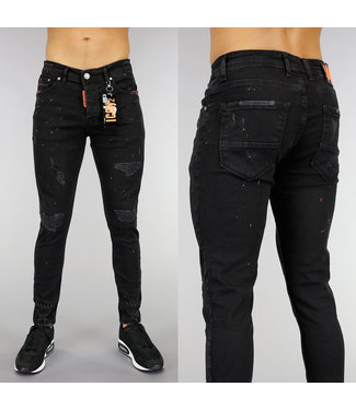 NEW! Zwarte Damaged Heren Jeans met Oranje Verfspatten