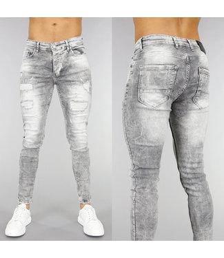 NEW! Lichtgrijze Heren Skinny Jeans met Scheuren
