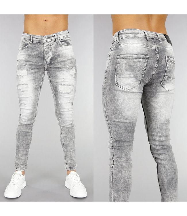 Lichtgrijze Heren Skinny Jeans met Scheuren