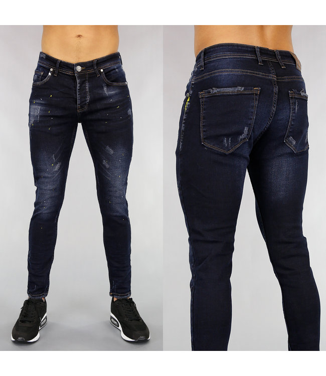 Donkerblauwe Heren Jeans met Verfspatten en Wassing