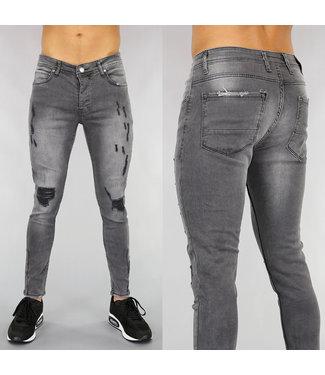 Grijze Heren Skinny Jeans met Scheuren en Wassing