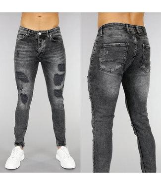 NEW! Zwarte Heren Skinny Jeans met Scheuren en Wassing