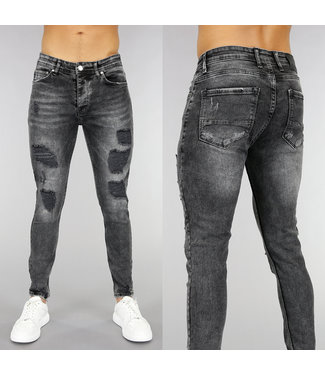 Zwarte Heren Skinny Jeans met Scheuren en Wassing