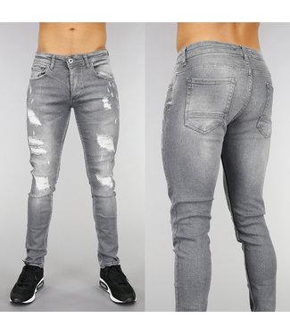 Grijze Heren Jeans met Scheuren en Wassing