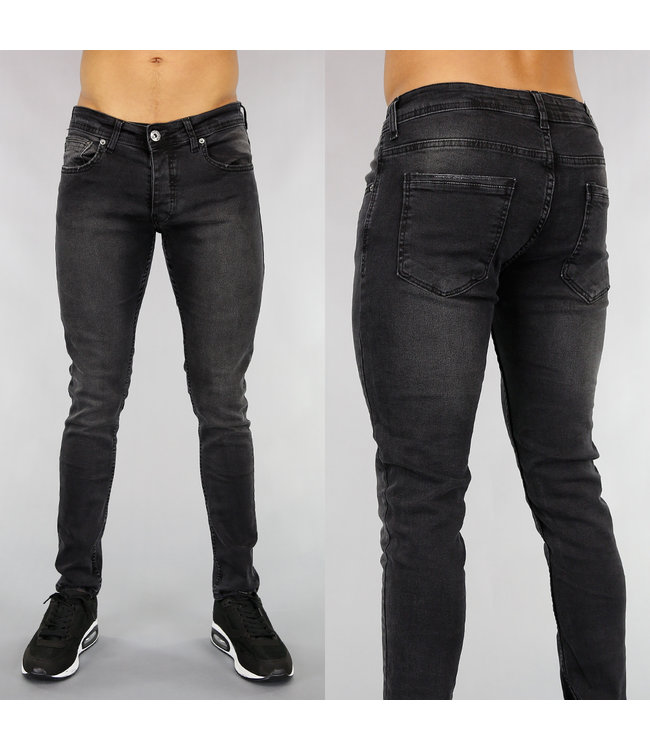 !OP=OP Zwarte Heren Jeans met Lichte Wassing