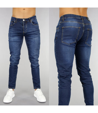 Basic Donkerblauwe Slim Fit Heren Jeans