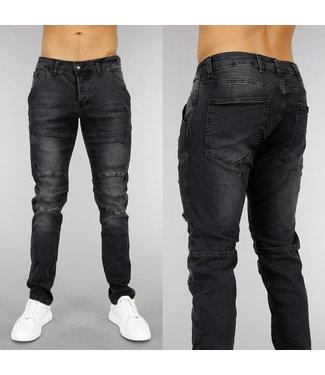 Zwarte Slim Fit Heren Jeans met Krassen