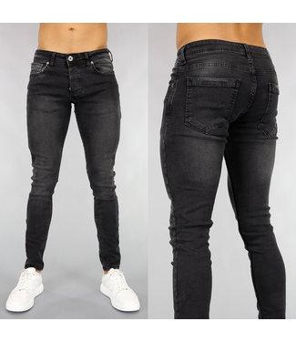 Zwarte Heren Skinny Jeans met Wassing