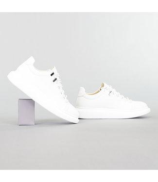 Witte Lage Heren Sneaker met Reliëf