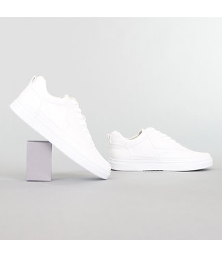 Sporty Witte Lederlook Heren Sneakers