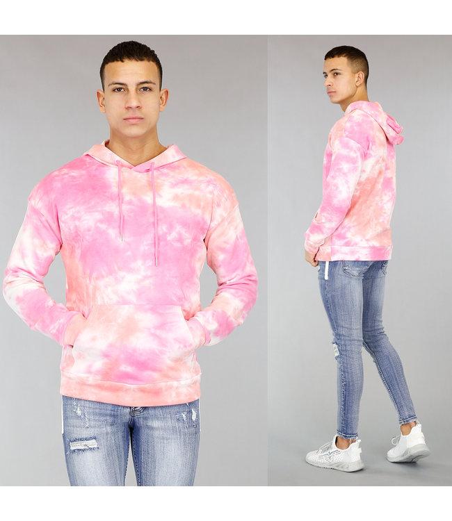 Roze Tie Dye Heren Hoodie met Capuchon