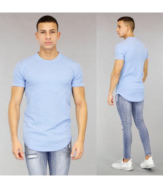 Lichtblauw Halflang Heren T-Shirt met Reliëf
