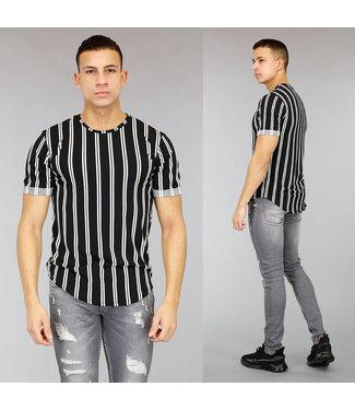 Zwart Heren T-Shirt met Off-White Strepen