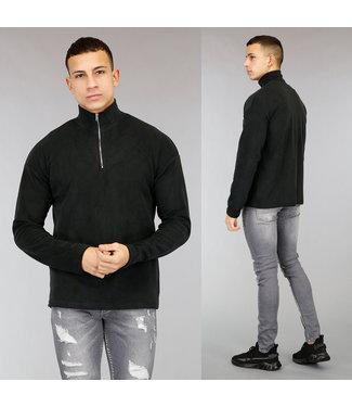 Zwarte Fleece Heren Sweater met Rits