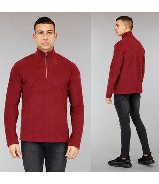 !OP=OP Wijnrode Fleece Heren Sweater met Rits