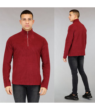 Wijnrode Fleece Heren Sweater met Rits
