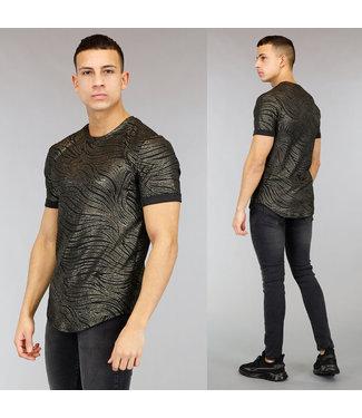 Zwart Heren T-Shirt met Gouden Print