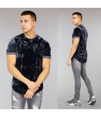 Grijsblauw Velvet Heren T-Shirt