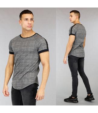 !OP=OP Grijs Geruit Heren T-Shirt met Korte Mouwen