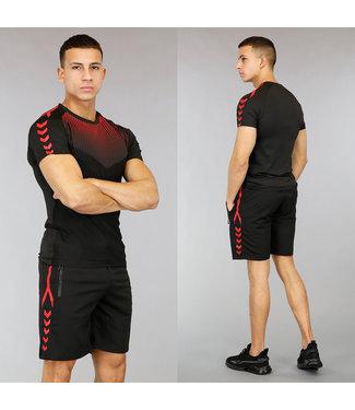Zwart/Rood Heren Trainingstenue met Stippen