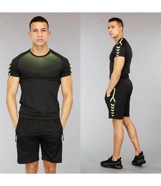 Zwart/Groen Heren Trainingstenue met Stippen