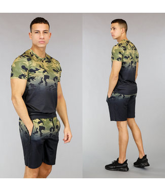 !OP=OP Zwart Heren Trainingstenue met Camouflage Print