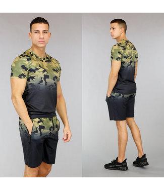 Zwart Heren Trainingstenue met Camouflage Print