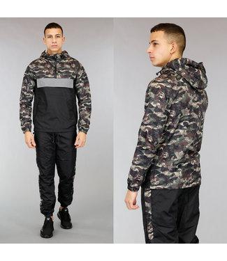 !SALE40 Zwarte Heren Tracksuit met Camouflageprint