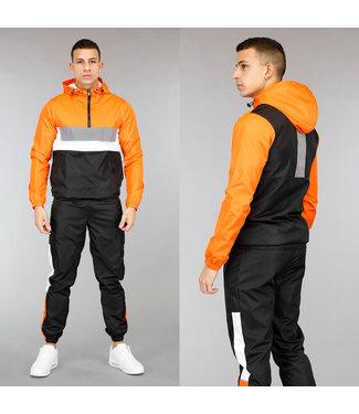 Oranje/Zwarte Heren Tracksuit met Jack