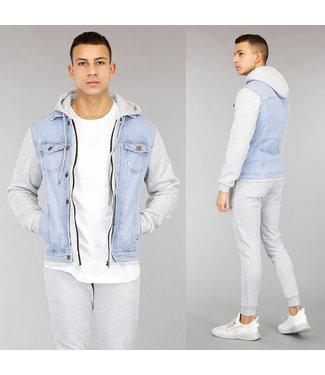 Lichtblauwe Heren Denim Hoodie Jacket