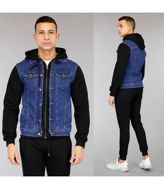 Donkerblauw Heren Denim Hoodie Jacket