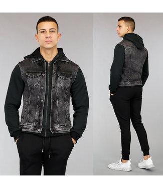 Zwarte Heren Denim Hoodie Jacket