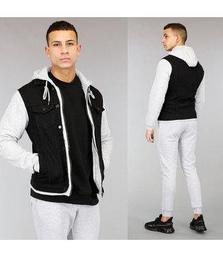 Zwart/Grijze Heren Denim Hoodie Jacket
