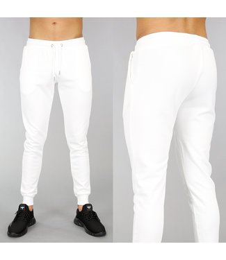 !SALE40 Basic Witte Heren Joggingbroek