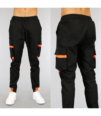 !OP=OP Zwarte Heren Cargo Broek met Neon Oranje Details